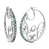 Kagem Zambian Emerald, Cambodian Zircon Platinum Over Sterling Silver Openwork Hoop Earrings TGW 2.55 cts.
