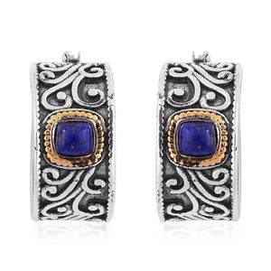 Lapis Lazuli ION Plated YG and Stainless Steel Half Hoop Earrings TGW 4.00 cts.