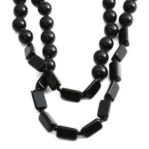Black Beaded Necklace (48 in)