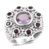 Artisan Crafted Rose De France Amethyst, Orissa Rhodolite Garnet Sterling Silver Engraved Ring (Size 7.0) TGW 4.42 cts.