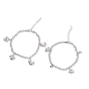 Set of 2 Stainless Steel Elephant and Cat Charm Bracelets (7.50 In)