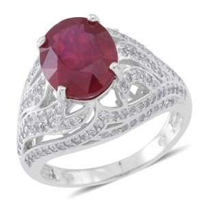 Niassa Ruby, Cambodian White Zircon Sterling Silver Ring (Size 8.0) TGW 9.36 cts.