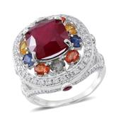 Niassa Ruby, Multi Gemstone Sterling Silver Ring (Size 8.0) TGW 12.89 cts.