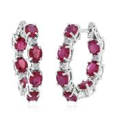 Niassa Ruby, Cambodian White Zircon Sterling Silver Inside Out Huggie Hoop Earrings TGW 8.10 cts.