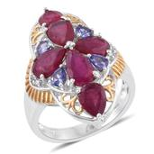 Niassa Ruby, Tanzanite, Cambodian Zircon 14K YG and Platinum Over Sterling Silver Cross Elongated Ring (Size 7.0) TGW 7.76 cts.