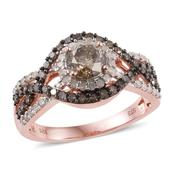 Natural Champagne Diamond, Diamond 14K RG Over Sterling Silver Ring (Size 9.0) TDiaWt 1.96 cts, TGW 1.96 cts.