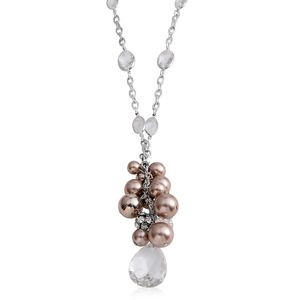 Simulated Pearl, Glass Silvertone Drop Necklace (30 in)