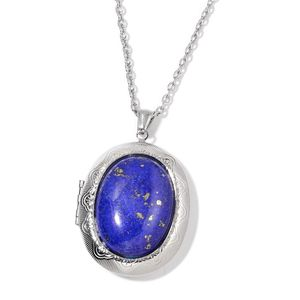 Lapis Lazuli Stainless Steel Locket Pendant With Chain (24 in) TGW 50.00 cts.
