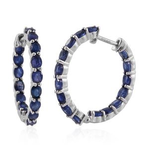 TLV Masoala Sapphire Platinum Over Sterling Silver Inside Out Hoop Earrings TGW 8.96 cts.
