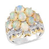 Ethiopian Welo Opal, White Zircon 14K YG Over and Sterling Silver Ring (Size 10.0) TGW 2.05 cts.