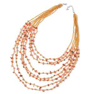 Carnelian, Orange Glass Beads Silvertone Drape Necklace (22 in) TGW 300.00 cts.
