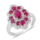 Ruby, White Topaz Sterling Silver Ring (Size 8.0) TGW 1.750 cts.