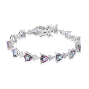 Northern Lights Mystic Topaz, White Zircon Sterling Silver Bracelet (7.50 In) TGW 21.75 cts.