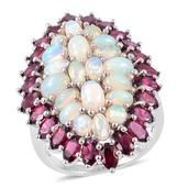 Ethiopian Welo Opal, Orissa Rhodolite Garnet Sterling Silver Elongated Statement Ring (Size 7.0) TGW 11.15 cts.