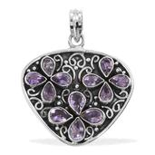 Artisan Crafted Rose De France Amethyst Sterling Silver Pendant without Chain TGW 5.64 cts.