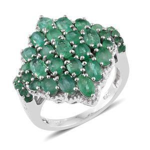 Kagem Zambian Emerald Platinum Over Sterling Silver Cluster Ring (Size 7.0) TGW 4.16 cts.