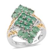 Kagem Zambian Emerald, Diamond Accent 14K YG and Platinum Over Sterling Silver Ring (Size 7.0) TGW 2.37 cts.