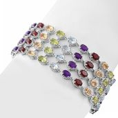 Multi Gemstone Platinum Over Sterling Silver Multi Row Bracelet (8.00 In) TGW 29.38 cts.