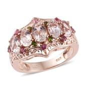 Marropino Morganite, Pink Tourmaline, Russian Diopside 14K RG Over Sterling Silver Openwork Ring (Size 5.0) TGW 2.80 cts.