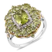 Hebei Peridot, Cambodian Zircon 14K YG and Platinum Over Sterling Silver Ring (Size 10.0) TGW 5.11 cts.