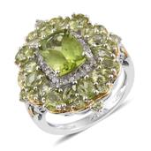 Hebei Peridot, Cambodian Zircon 14K YG and Platinum Over Sterling Silver Ring (Size 7.0) TGW 5.62 cts.
