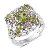 Hebei Peridot, Madagascar Pink Sapphire 14K YG and Platinum Over Sterling Silver Openwork Ring (Size 9.0) TGW 3.45 cts.