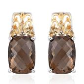 Brazilian Smoky Quartz Carved, Brazilian Citrine 14K YG and Platinum Over Sterling Silver Earrings TGW 14.39 cts.