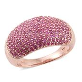 Madagascar Pink Sapphire 14K RG Over Sterling Silver Cluster Dome Ring (Size 6.0) TGW 3.56 cts.