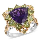 Lusaka Amethyst, Hebei Peridot 14K YG and Platinum Over Sterling Silver Ring (Size 6.0) TGW 7.59 cts.