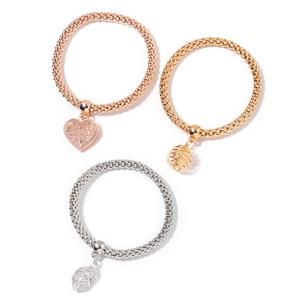 White Austrian Crystal Tritone Set of 3 Bracelets with Charms (Stretchable)