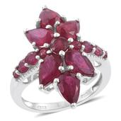 Niassa Ruby Platinum Over Sterling Silver Ring (Size 8.0) TGW 9.17 cts.