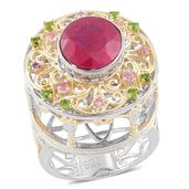 Niassa Ruby, Madagascar Pink Sapphire, Russian Diopside 14K YG Over and Sterling Silver Carousel Statement Ring (Size 6.0) TGW 4.23 cts.