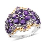 Ankur's Treasure Chest Amethyst 14K YG and Platinum Over Sterling Silver Ring (Size 6.0) TGW 5.71 cts.