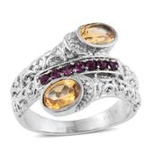 Brazilian Citrine Stainless Steel Bypass Ring (Size 6.0) Made with SWAROVSKI Purple Crystal TGW 1.56 cts.