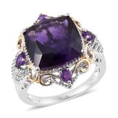Lusaka Amethyst 14K YG and Platinum Over Sterling Silver Ring (Size 5.0) TGW 10.830 cts.