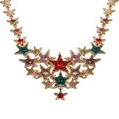 Multi Color Glass, Multi Color Austrian Crystal Goldtone Star Statement Necklace (22 in)