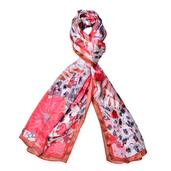 J Francis - Red Japanese Cherry Blossom Pattern 100% Natural Mulberry Silk Scarf (66x21 in)