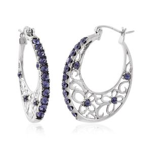 Stainless Steel Hoop Earrings Made with SWAROVSKI Purple Crystal