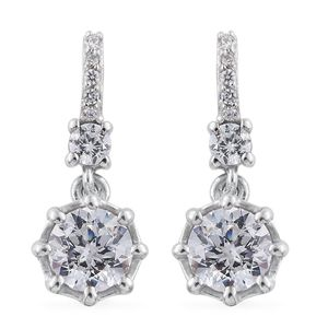J Francis - Platinum Over Sterling Silver Earrings Made with SWAROVSKI ZIRCONIA TGW 3.56 cts.