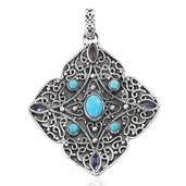 Artisan Crafted Arizona Sleeping Beauty Turquoise, Tanzanite Sterling Silver Pendant without Chain TGW 2.81 cts.