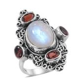 Artisan Crafted Sri Lankan Rainbow Moonstone, Mozambique Garnet Sterling Silver Elongated Ring (Size 7.0) TGW 9.27 cts.