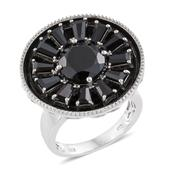 Thai Black Spinel 14K YG and Platinum Over Sterling Silver Statement Ring (Size 8.0) TGW 8.50 cts.