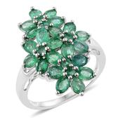 Kagem Zambian Emerald Platinum Over Sterling Silver Floral Elongated Ring (Size 5.0) TGW 3.02 cts.