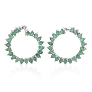 Brazilian Emerald Sterling Silver Latch Back Hoop Earrings TGW 5.75 cts.