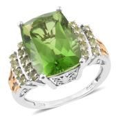 Chartreuse Quartz, Hebei Peridot 14K YG and Platinum Over Sterling Silver Ring (Size 6.0) TGW 11.68 cts.