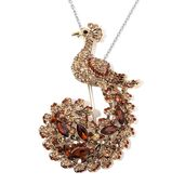 Champagne Austrian Crystal, Chroma Goldtone Peacock Brooch or Pendant With Stainless Steel Chain (20 in)