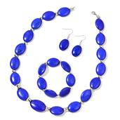 Blue Howlite Stainless Steel Bracelet (Stretchable), Earrings and Necklace (20.00 In) TGW 527.50 cts.