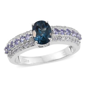 Karen's Fabulous Finds London Blue Topaz, Tanzanite, Cambodian Zircon Platinum Over Sterling Silver Ring (Size 8.0) TGW 2.33 cts.