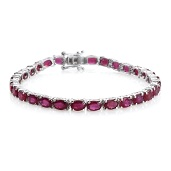 TLV Niassa Ruby (FF) Platinum Over Sterling Silver Tennis Bracelet (7.50 In) TGW 19.50 cts.