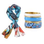 Mother's Day Multi Color 100% Natural Mulberry Silk Aquarius Circle Printed Scarf with Goldtone Matching Bangle Set (70x19 in)